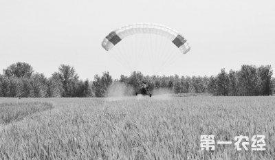 湖北襄阳动力伞防治水稻病虫害 一天可防5000亩